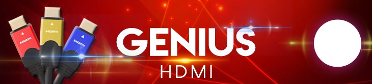 Red Blue and Gold Genius HDMI Cable