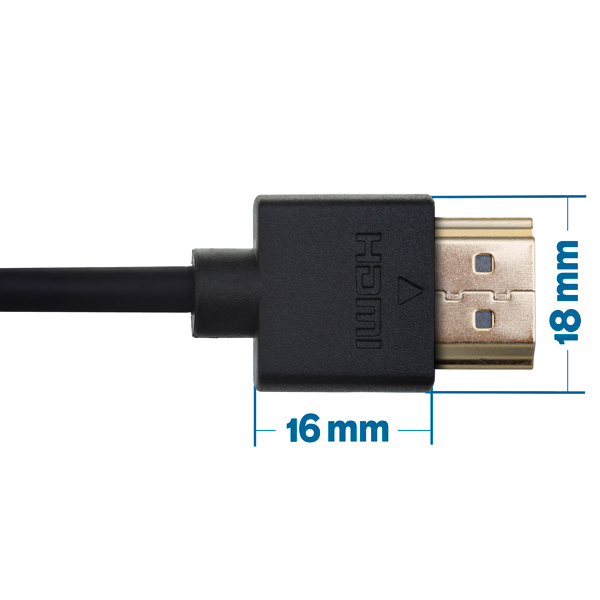 1.5m HDMI Cable - Smallest Head SUPREME BLACK 'In The World' (SH1.5BLK)
