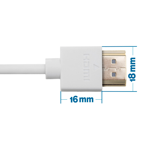 3m HDMI Cable - Smallest Head SUPREME WHITE 'In The World' (SH3WHT)