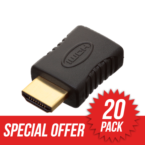 20 Pack HDMI Male to HDMI Female Adapter