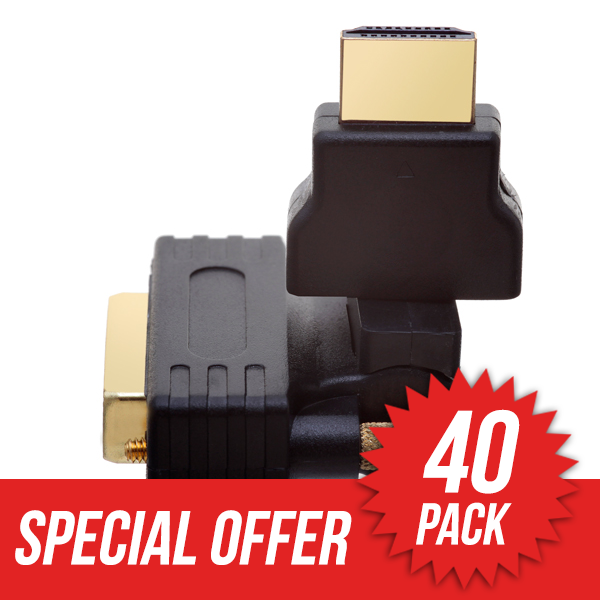40 Pack HDMI Male to DVI Male 360� Rotate & Swivel Adapter