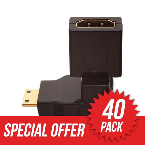 40 Pack HDMI MINI Male to HDMI Female 360� Rotate & Swivel Adapter