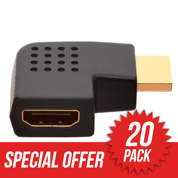 20 Pack HDMI Female to HDMI Male Vertical Flat Right 270� Angle HDMI Adapter