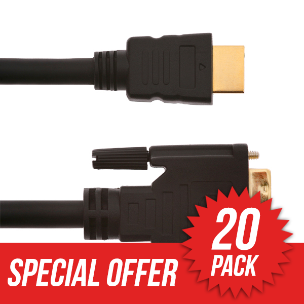 20 Pack 5m HDMI Male to DVI Male Cable