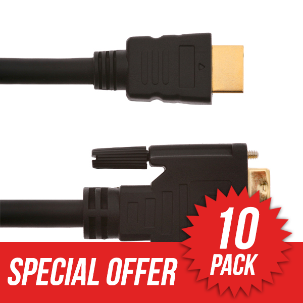 10 Pack 10m HDMI Male to DVI Male Cable