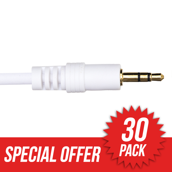 30 Pack 1m Premium 3.5mm to 3.5mm White Audio Cable