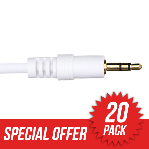 20 Pack 7m Premium 3.5mm to 3.5mm White Audio Cable