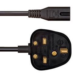 0.5m UK Mains Plug to Figure 8 IEC C7 10A (UKC7A0.5)